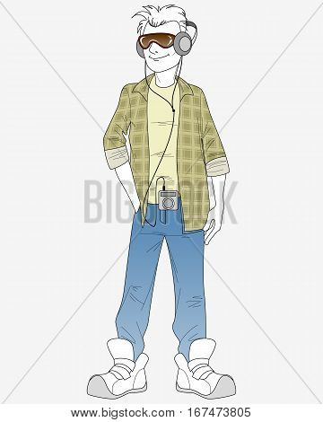 Vector illustration of a guy with mp3 player