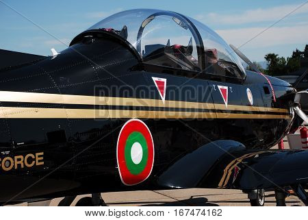 IZMIR, TURKEY - JUNE 5, 2011: Close up of the Bulgarian Air Force Pilatus PC-9 Turboprop training aircraft for 'Turkish Air Force 100th Anniversary' air show at 2nd Main Jet Base Cigli, Izmir Turkey.