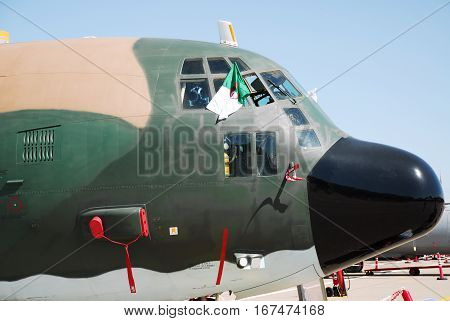 IZMIR, TURKEY - JUNE 5, 2011: Close up of the Algeria Air Force C-130 Hercules transportation aircraft for 'Turkish Air Force 100th Anniversary' air show at 2nd Main Jet Base Cigli, Izmir Turkey.
