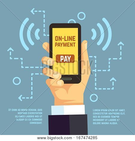 Online payment transfer, mobile pay with smartphone. e banking vector concept. Payment use smartphone, illustration transaction with mobile phone