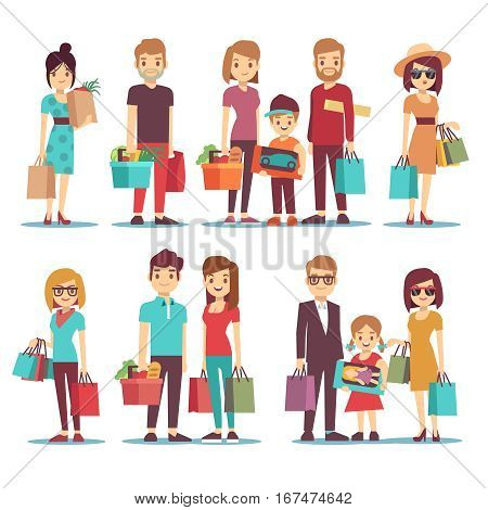 People shopping in mall vector cartoon characters set. Family with children and shopping bags. Illustration of woman in shopping