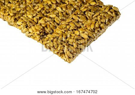 Brittles with sunflower seeds isolated on a white background