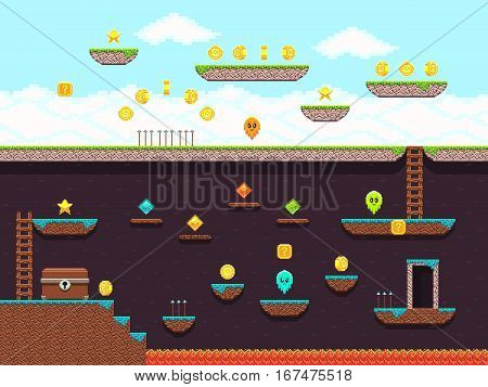 Retro platformer video game, vector gaming screen. Computer pixel game interface, illustration of platformer for vintage game