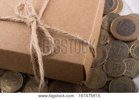 Turkish Lira Coins By The Side Of Gift Box