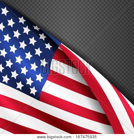 Patriotic vector background with american USA waving flag. Illustration of american flag waving