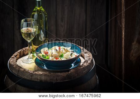 Delicious Spaghetti Vongole With Clams, Parsley And Peppers