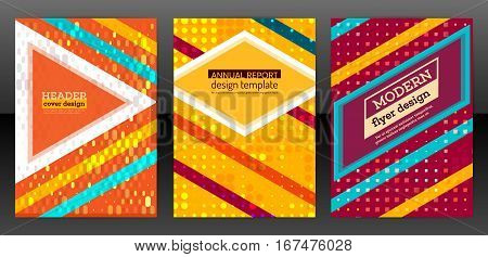 Abstract minimal geometric round circle shape design background. Colorful halftone cover brochure. Flat square design annual report book. Flyer with simple geometric design. Vector eps 10