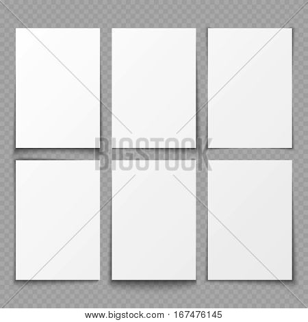 A4 blank sheets of white paper with different shadow effects. vector templates for presentation. Paper sheet collection of illustration