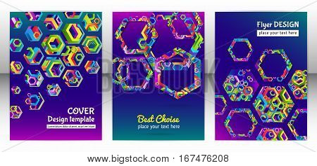 Geometric hexagon shape brochure background. Chaotic colorful cover report design. Modern hexagon pattern flyer. Colorful mixed geometric shapes for folder. Vector eps 10