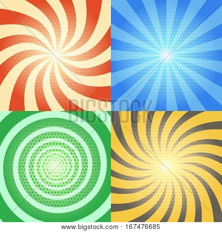 Comic book vector backgrounds set. Retro sunburst and spiral effects with halftone pattern. Collection of color comic vintage backdrops with comic effects