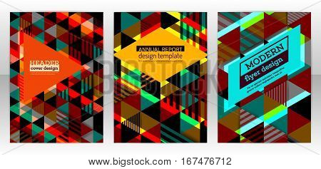 Abstract triangle brochure. Cover report colorful triangle geometric prospectus design background. Vector flyer template design with triangles shapes. Triangle multicolor pattern. Eps 10