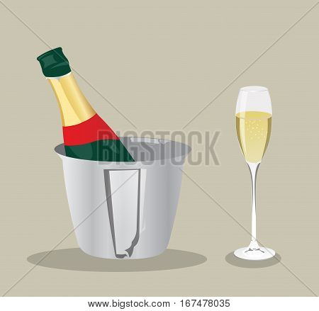 Vector champagne bottle and glass. Champagne glass and bottle in ice bucket. Restaurant symbol, Alcohol drink