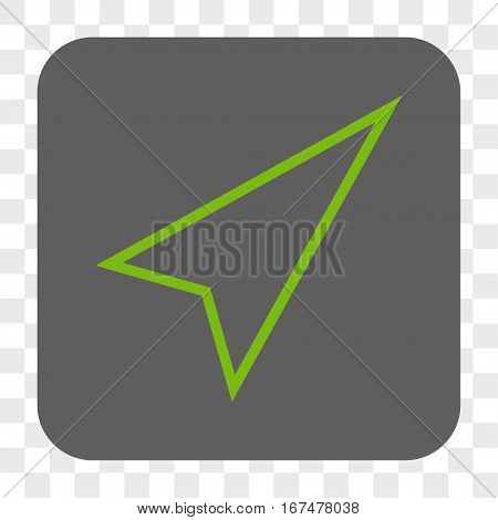 Pointer Right Up interface toolbar button. Vector icon style is a flat symbol in a rounded square button light green and gray colors chess transparent background.