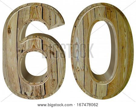 Numeral 60, Sixty, Sixty, Isolated On White Background, 3D Rende