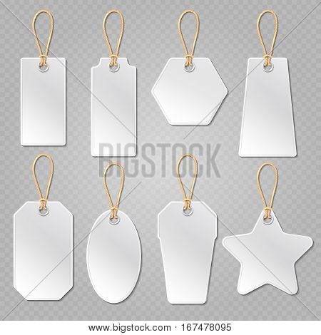 White blank price tags, labels vector template. Empty cardboard tag for promotion and discount, labels tags with string illustration