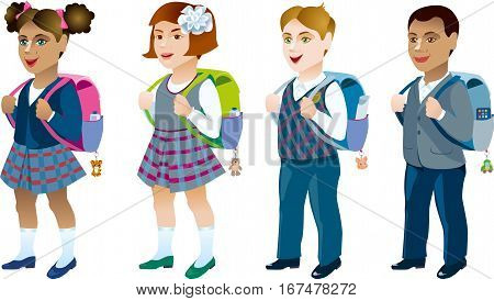 Schoolboy and schoolgirl with backpack behind. Different characters