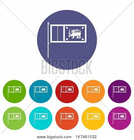 Flag of Sri Lanka set icons in different colors isolated on white background