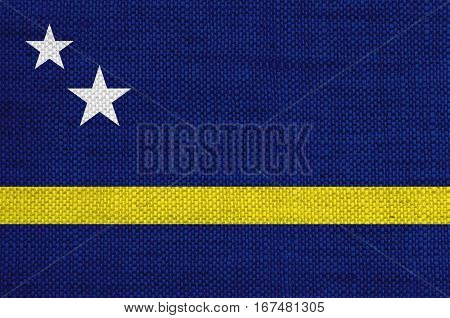 Colorful and crisp image of flag of Curacao on old linen