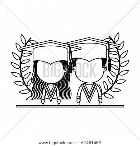monochrome contour with branches with leaves with half body couple of children graduation outfit vector illustration