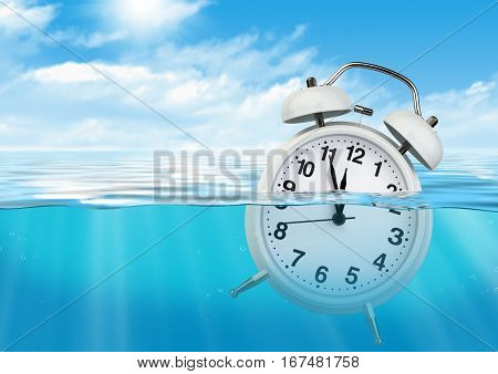 Clock in water waste of time concept