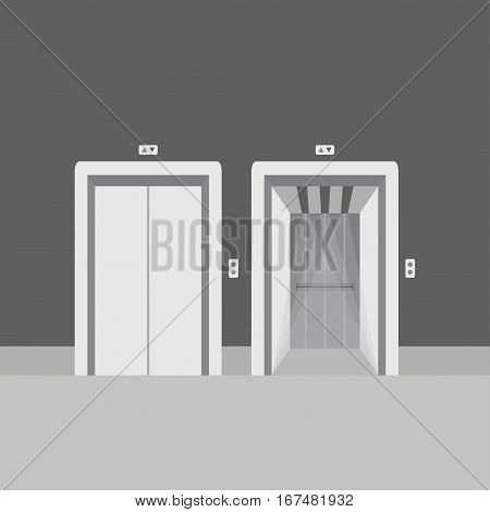 Open and close elevator doors modern metal, realistic empty hall interior with waiting lift  grey floor ceiling and walls vector illustration