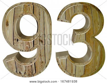 Numeral 93, Ninety Three, Isolated On White Background, 3D Rende