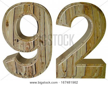 Numeral 92, Ninety Two, Isolated On White Background, 3D Render
