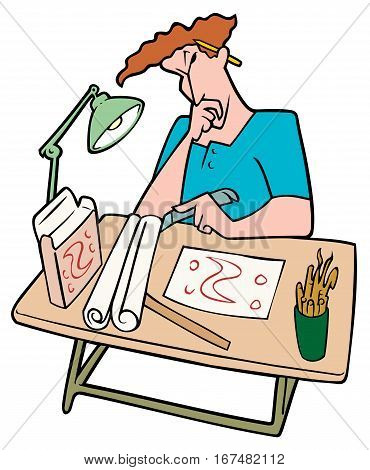 Graphic Designer At Work Thinking about his set of designs