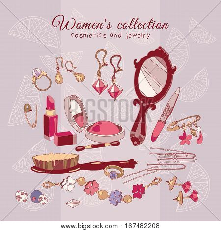 Women's collection make up cosmetics and jewelery hand drawn female fashion accessories