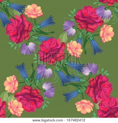 Seamless flower pattern with red and yellow roses and leaves inspired by garden plants. Botanical and flower background in summer style. Romantic floral background perfect for fabric textile, wrapping paper or scrapbooking. Vector illustration