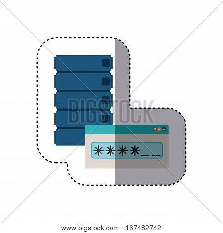 sticker password text box with blue filing cabinet vector illustration