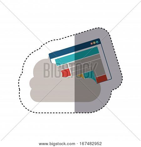 sticker window with rows and columns into the cumulus cloud vector illustration