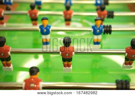 Close up of football table soccer table football game soccer table
