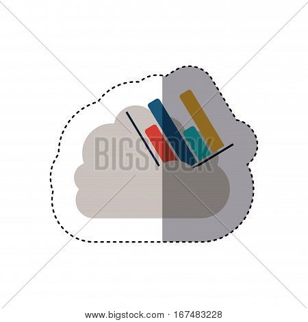 sticker column chart in multiple colors into the cumulus cloud . Vector illustration