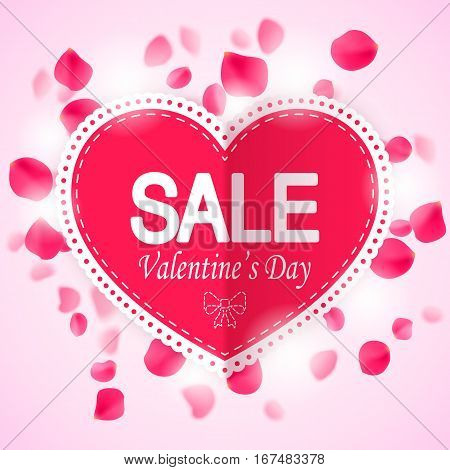 Valentines day sale banner with rose petals