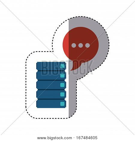 sticker file cabinets with dialog with white suspending points vector illustration