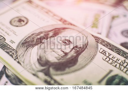 Heap Of One Hundred Dollar Bills On Money Background. Shallow Depth Field. Selective Focus.