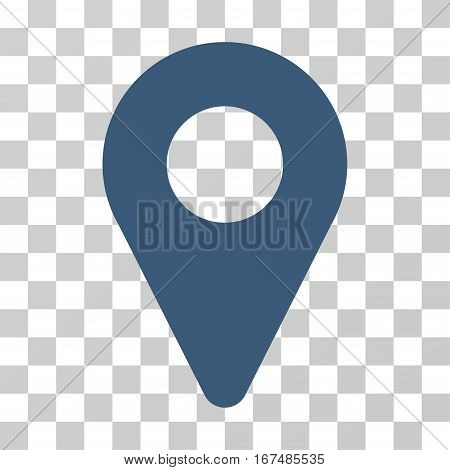 Map Marker vector pictograph. Illustration style is flat iconic blue symbol on a transparent background.