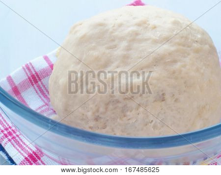 Cooking process. Preparing fresh dough for cakes, pastries, buns or pizza. Leavened dough in transparent bowl. Close up image.