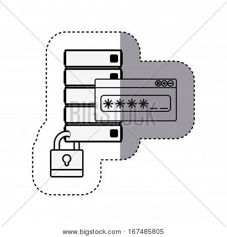 sticker silhouette file cabinet with padlock and password text box vector illustration