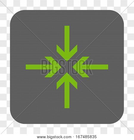Reduce Arrows interface toolbar button. Vector icon style is a flat symbol on a rounded square button light green and gray colors chess transparent background.