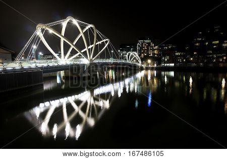 Bridge crossing Yarra river in Melbourne, Australia