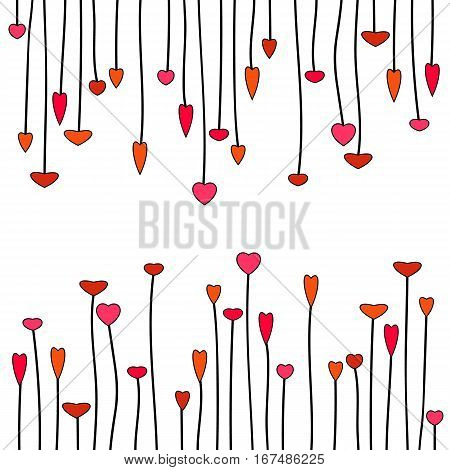 Hearts, hanging down and growing up. Decoration for a valentine'