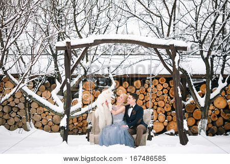 Bride and groom are sitting on swing in winter keeping dog and laughing merrily. Around all covered with snow.