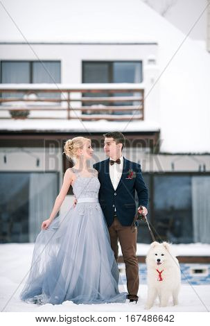 Bride and groom in winter with dog malamute on snow and home background. Groom hugging bride and they tenderly look against each other.