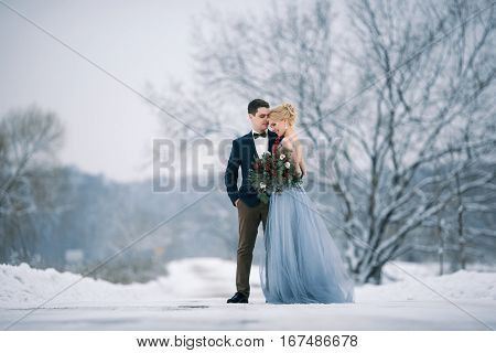Bride and groom among snowy landscape. Bride and groom are standing and hugging. Winter wedding outdoors.