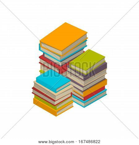 Big three stacks of new 3d colorful books and tutorials on a bookshalf. Isometric flat classbooks and textbooks icon. Education symbol logo. Illustration vector art.