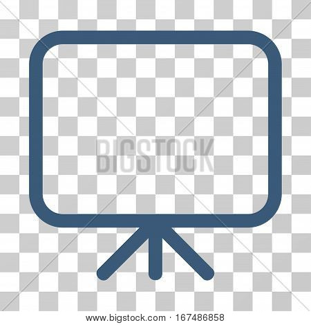 Presentation Screen vector pictogram. Illustration style is flat iconic blue symbol on a transparent background.