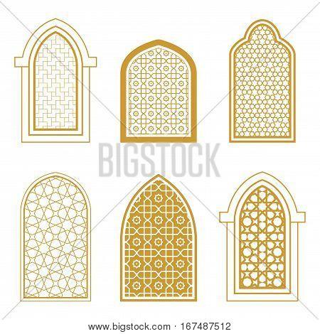Set of ornamental islamic window. Arabic traditional architecture. Template for design