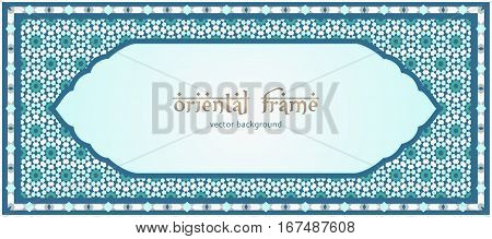 Traditional oriental frame, ornate mosaic background with place for text
